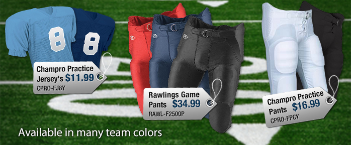 Champro Football Jerseys and Rawlings football pants